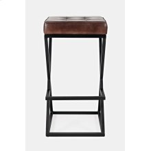 Brooks Leather Stool- Dark Sienna