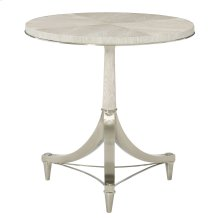 Domaine Blanc Round Pedestal Chairside Table in Dove White (374)