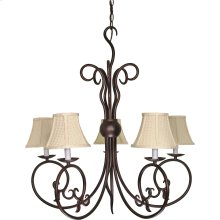 "5-Light 29"" Old Bronze Chandelier with Linen Waffle Shade"