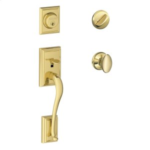 Addison Single Cylinder Handleset and Siena Knob - Bright Brass Product Image