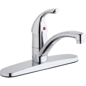 Elkay Everyday Three Hole Deck Mount Kitchen Faucet with Lever Handle and Escutcheon Chrome Product Image