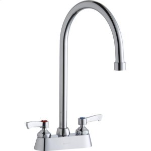 """Elkay 4"""" Centerset with Exposed Deck Faucet with 8"""" Gooseneck Spout 2"""" Lever Handles Chrome Product Image"""