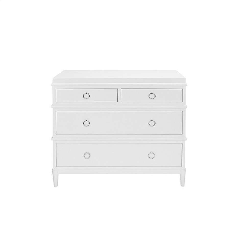 4 Drawer White Lacquer Dresser With Nickel Ring Hardware