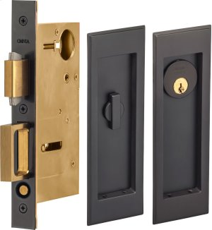 Pocket Door Lock with Traditional Rectangular Trim featuring Turnpiece and Keyed Entry in (US10B Oil-Rubbed Bronze, Lacquered) Product Image