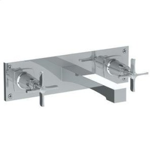 """Wall Mounted 3 Hole Lavatory Set With 8 3/8"""" Ctc Spout and Wall Plate Product Image"""