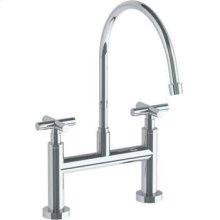 Deck Mounted Bridge Extended Gooseneck Kitchen Faucet