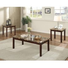 3PC PK MARBLE C/E TABLE SET