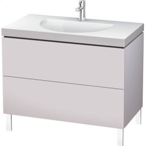 Furniture Washbasin C-bonded With Vanity Floorstanding, White Lilac Satin Matt Lacquer