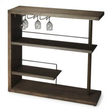 Crafted from select solid woods and wood products with a stylish metal post and wine-glass holders, this sleek Bar Cabinet features a rich Cocoa Finish.