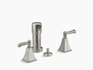 Vibrant Brushed Nickel Stately Vertical Spray Bidet Faucet With Lever Handles Product Image