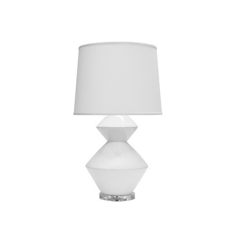 Two Tier Ceramic Table Lamp In White With White Linen Shade