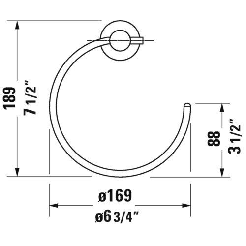Chrome D-code Towel Ring