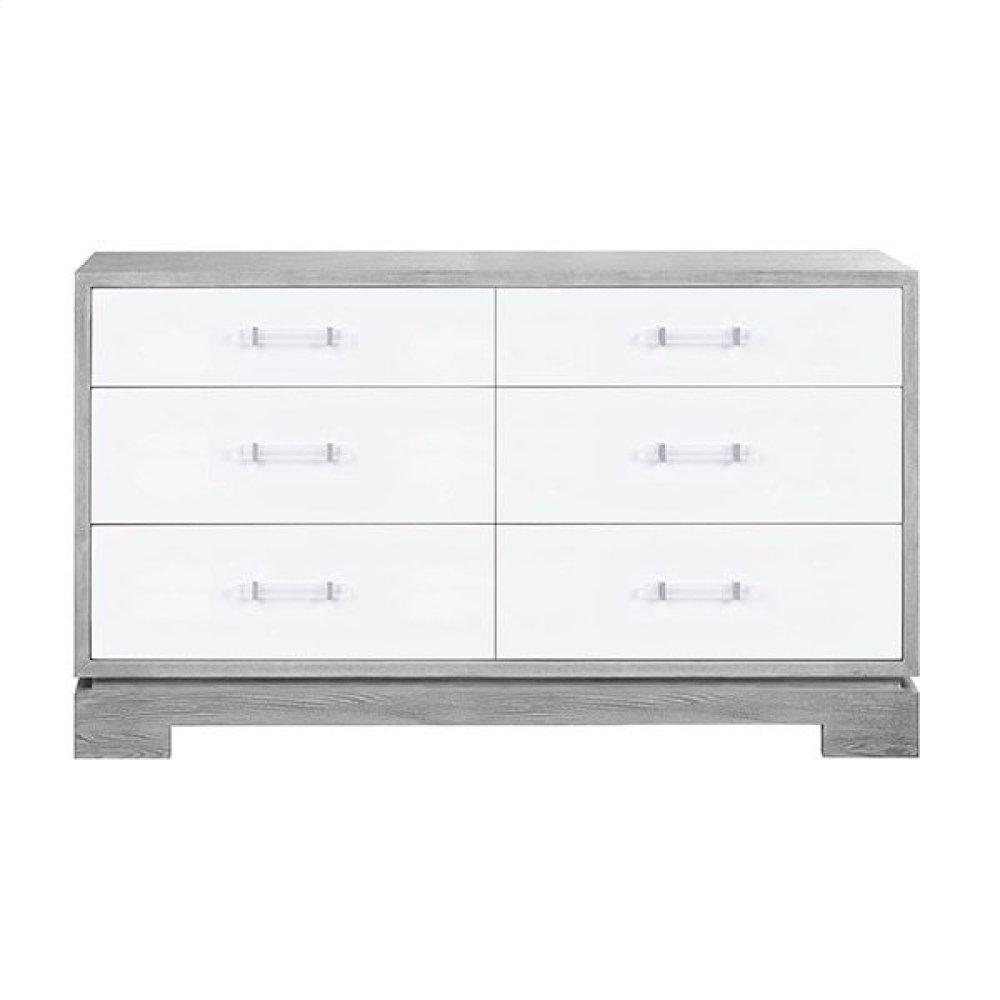 Six Drawer Chest With Acrylic and Nickel Hardware In Matte Lacquer and Grey Cerused Oak