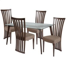 5 Piece Espresso Wood Dining Table Set with Glass Top and Dramatic Rail Back Design Wood Dining Chairs - Padded Seats