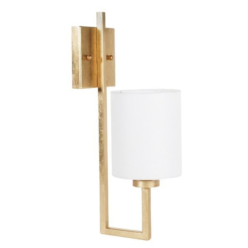 Gold Leaf Sconce With White Linen Shade