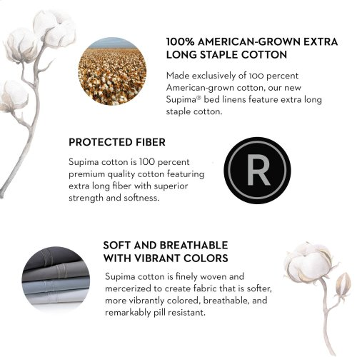 Supima® Cotton Sheets King Pillowcase Flax