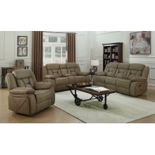 Houston Casual Tan Reclining Three-piece Living Room Set