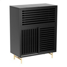 Lea Bar Cabinet Matt Black & Brushed Brass