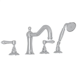 Polished Chrome Acqui 4-Hole Deck Mount Column Spout Tub Filler With Handshower with Metal Lever Product Image