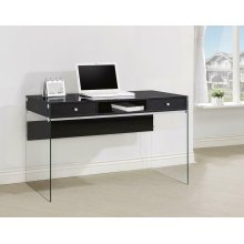 Contemporary Glossy Black Writing Desk