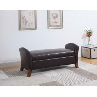 Upholstered Brown Faux Leather Bench Product Image