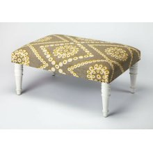 Use this Upholstered Cocktail Ottoman as a seat or as a footstool in your living or entertainment area. With its substantial surface area, it can also be used as a coffee table. Its mango wood solids legs support a stylish, upholstered urethane foam and