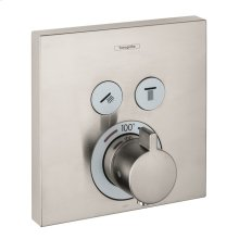 Brushed Nickel Thermostatic Trim for 2 Functions, Square