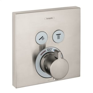 Brushed Nickel Thermostatic Trim for 2 Functions, Square Product Image