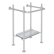 Polished Chrome Finished Brass Wash Stand With Glass Shelf