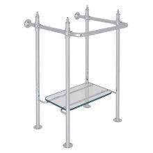 Polished Chrome Finished Brass Wash Stand With Glass Shelf