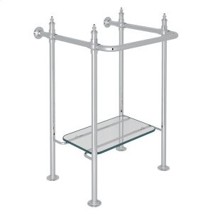 Polished Chrome Finished Brass Wash Stand With Glass Shelf Product Image