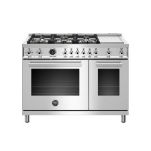 48 inch Dual Fuel Range, 6 Brass Burners and Griddle , Electric Self Clean Oven Stainless Steel