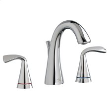 Fluent Two-Handle Widespread Bathroom Faucet with Red/Blue Indicators - Polished Chrome