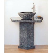 Vessel Pedestal and Pedestal Countertop Black Granite