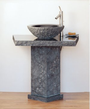 Vessel Pedestal and Pedestal Countertop Black Granite Product Image