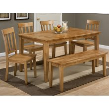 Simplicity Honey Rectangle Dining Table With Four Slat Back Dining Chairs