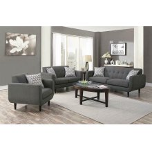 Stansall Mid-century Modern Grey Three-piece Living Room Set