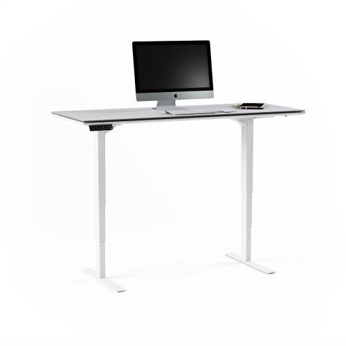 Lift Standing Desk 6451 in Satin White Gray Glass