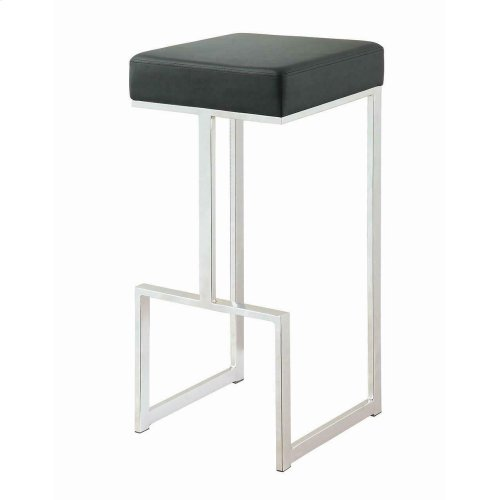 "Contemporary Chrome and Black 29"" Bar Stool"