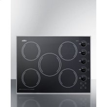 "27"" Wide 5-burner Radiant Cooktop Made In the USA In Smooth Black Ceramic Glass Finish"