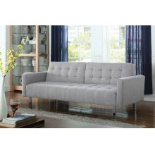 Transitional Light Grey Tufted Sofa Bed