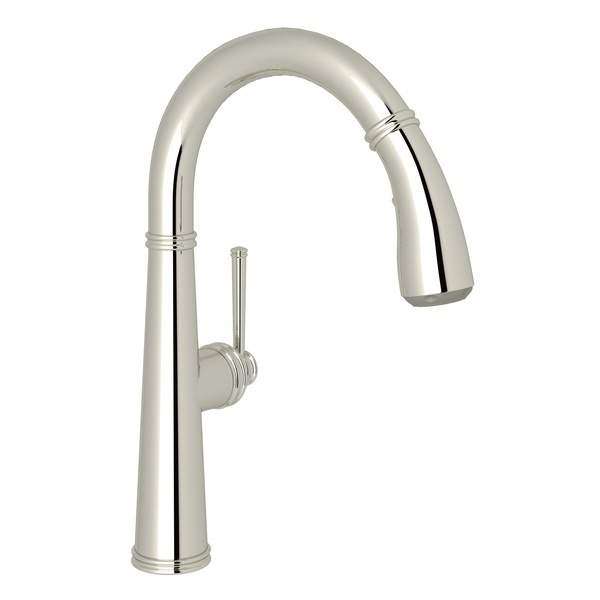 Polished Nickel 1983 Pull-Down Bar/Food Prep Faucet with 1983 Metal Lever