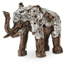 Wood Crafted Elephant W/aluminum, Small Product Image