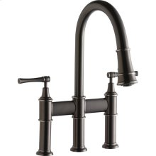 Elkay Explore Three Hole Bridge Faucet with Pull-down Spray and Lever Handles Antique Steel