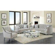 Avonlea Traditional Grey and Chrome Sofa