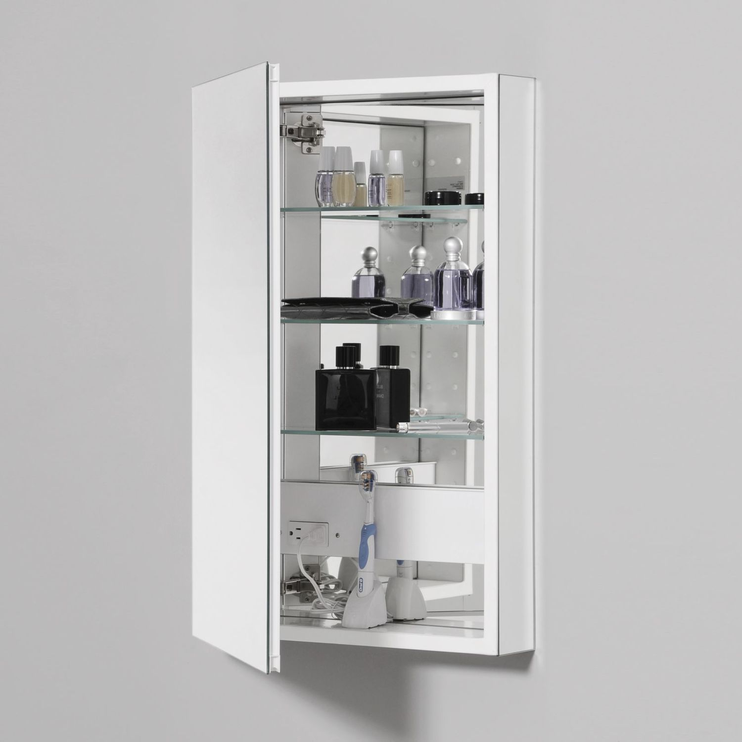 """Additional Pl Series 15-1/4"""" X 30"""" X 4"""" Flat Top Cabinet With Bevel Edge Mirror, Non-handed, Black Interior and Non-electric"""