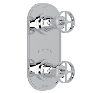 """Polished Chrome Campo 1/2"""" Thermostatic/Diverter Control Trim with Metal Campo Wheel Product Image"""