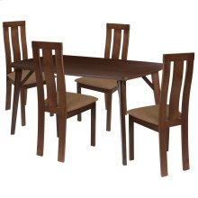 5 Piece Espresso Wood Dining Table Set with Vertical Wide Slat Back Wood Dining Chairs - Padded Seats