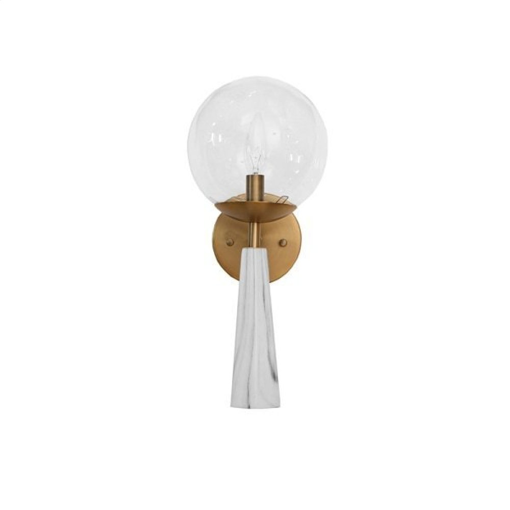 Faux Marble Wall Sconce With Antique Brass Detailing and Clear Globe - Uses (1) E12 40 Watt Candelabra Bulbs