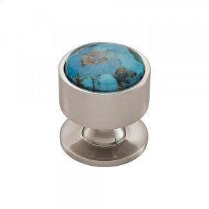 Firesky Mohave Turquoise Knob 1 3/8 Inch Brushed Satin Nickel Product Image